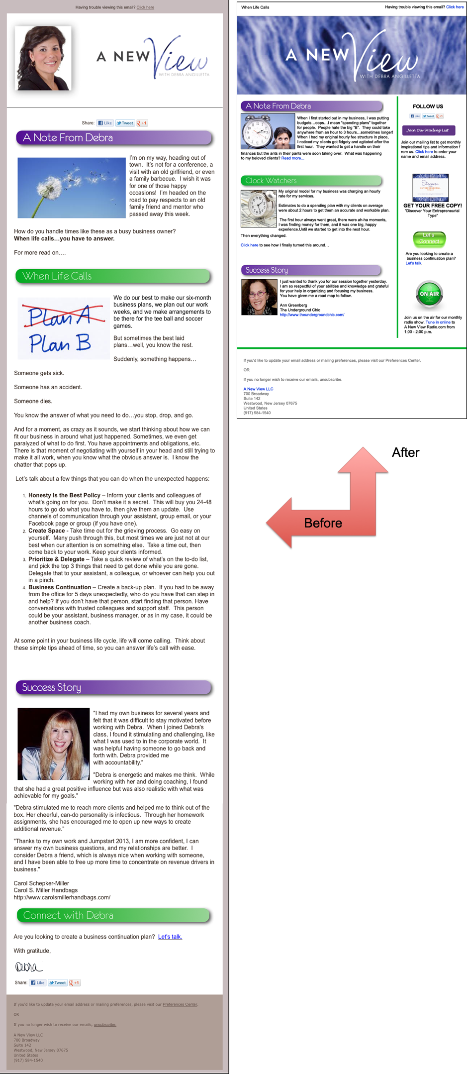A New View Newsletter Before and After