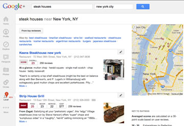 Google Local Pages Steakhouses in NYC search