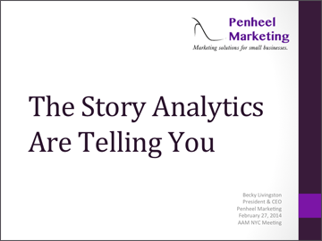 The story analytics are telling you slide cover by Penheel Marketing.