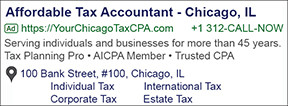 Tax Adwords Example